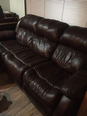 2-Piece Reclining Brown Leather Sofa Set for Sale in Centreville, VA