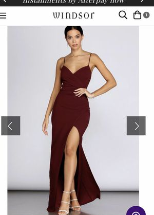 Burgundy side slit long dress for Sale in Riverside, CA