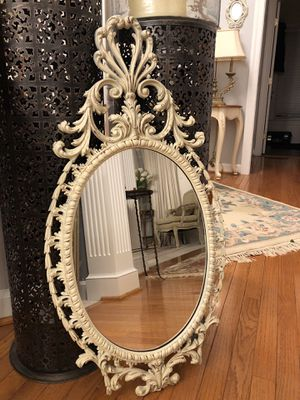 "33""X17""Antique Ornate Baroque Shabby Chic Ivory Distressed Mirror for Sale in Gainesville, VA"