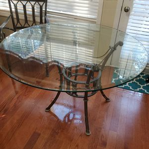 Glass Dining Table And 4 Metal Chairs for Sale in Covington, GA