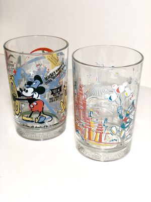 Two Walt Disney Collectible Vintage Spain Glass Cups- Celebrating 25 & 100 Years of Magic ! for Sale in Miami, FL