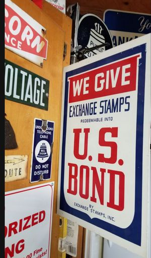 👀🙋♂️ VINTAGE US BONDS EXCHANGE STAMPS METAL FLANGE SIGN DOUBLE SIDED...WWII ERA? RARE! Great Condition. 20x14. Asking $60.00 for Sale in Bakersfield, CA