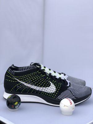 Nike Flyknit Racer Oreo Black White Volt Mens 13 Womens 14.5 for Sale in Fort Washington, MD