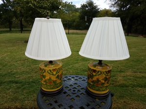 Oriental Ceramic Table Lamps with Silk Shades for Sale in Lewisville, TX