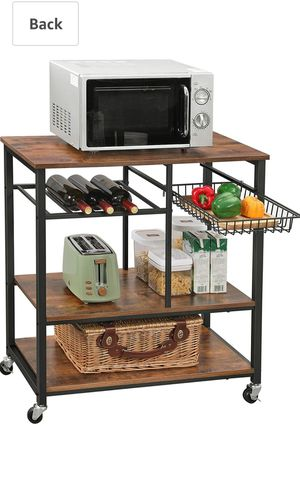 VASAGLE Baker's Rack with Wheels, Kitchen Island, Food Trolley with Metal Mesh Basket, Bottle Holder and Storage Shelves, for Sale in Rancho Cucamonga, CA