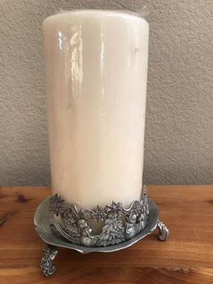 Vintage 1995 Rawcliffe Pewter Candle / Votive Holder Christmas Theme for Sale in Henderson, NV