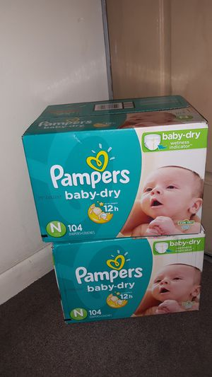 Diapers Pampers Baby Dry size New Born both boxes (208 count) for $35 other sizes available PAÑALES otros tamaños disponible for Sale in Phoenix, AZ