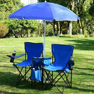 Brand new portable foldable outdoor chairs with removable umbrella picnic event chairs 250 lbs capacity for Sale in Whittier, CA