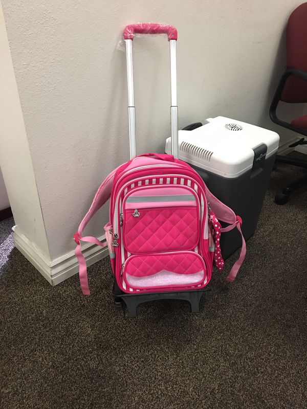 Warehouse sell Brand new Girls Rolling Backpack with separate trolley and pencil box
