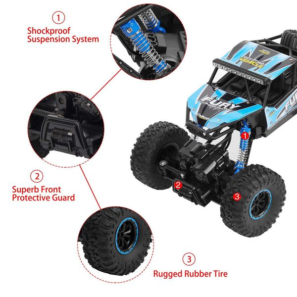 DoitY Electric RC Car, 1:16 4WD 2.4Ghz High Speed Off Road Remote Control Car/ Vehicle/ Truck/ Crawler Climber, Two Rechargeable Batteries Included,