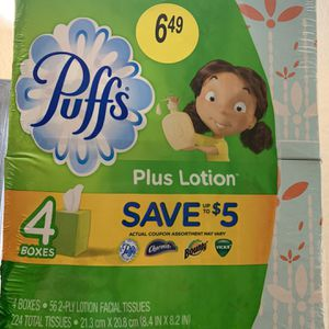 Puffs Plus Lotion Tissue 4 Boxes 224 Total Tissue New Never Opened for Sale in Fontana, CA