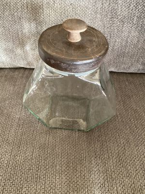 Antique glass wood jar and plant for Sale in El Mirage, CA