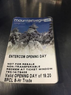 Mountain High Opening Day Lift Tickets for Sale in Torrance, CA