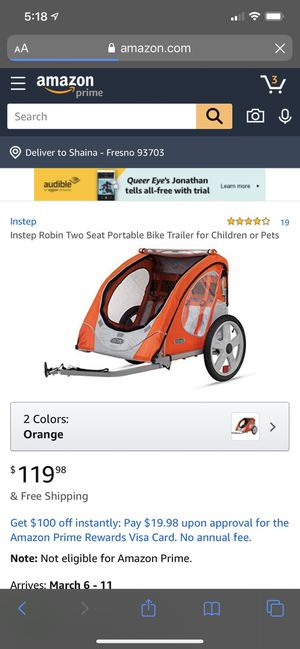 2 seat bike trailer for Sale in Fresno, CA