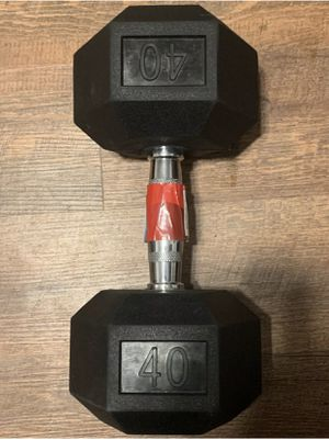 Single 40 lb pound rubber Hex Dumbbell New for Sale in Schaumburg, IL