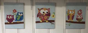 Beautiful Owl 3 piece wooden Frames Wall Decor for Sale in Pico Rivera, CA