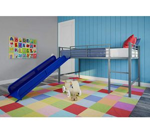 Blue Twin Metal Loft Bed with Slide for Kids for Sale in ROWLAND HGHTS, CA