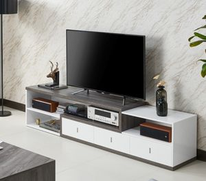 "83"" TV Stand in Distressed Gray and High - White for Sale in Ontario, CA"