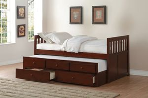 Rowe Cherry Twin/Twin Trundle Captain Bed by Homelegance for Sale in Jessup, MD