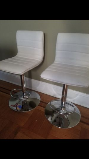 (One) White leather stool for Sale in Palisades Park, NJ