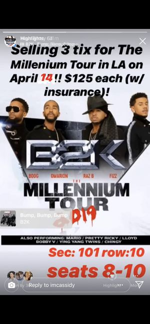 Millennium tour tickets 4/14 for Sale in Los Angeles, CA