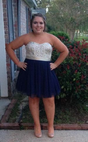 Navy blue and khaki rhinestoned dress for Sale in Central, LA