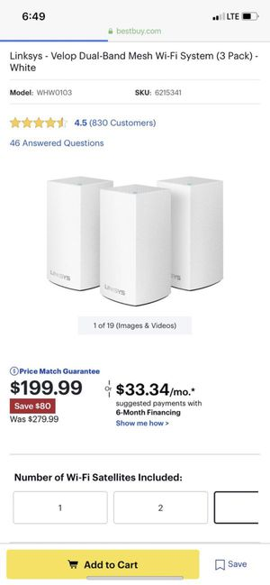 NEW Linksys Velop Wireless AC-3900 Dual Band Mesh WiFi router (3 pack) for Sale in Pomona, CA