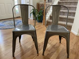 Silver aluminum dining chairs (2) for Sale in Virginia Beach, VA