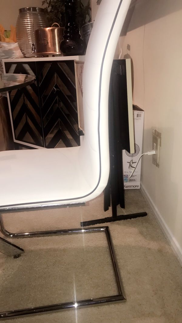 Design Table & chair sets!!! White silver and black trims!