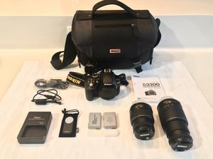 Nikon D3300 DSLR Camera with a 18-55mm and 55-200mm Lenses bundle kit for Sale in Pasadena, TX