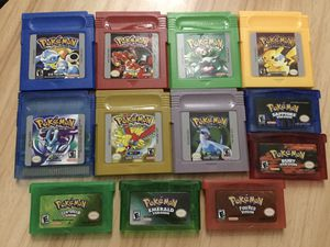 12 Pokemon Games Yellow, Red, Green, Blue, Gold, Silver, Crystal, FireRed, Ruby, Sapphire, Emerald & LeafGreen Version for GameBoys for Sale in Coldwater, MI