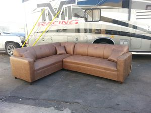 NEW 7X9FT CAMEL LEATHER SECTIONAL COUCHES for Sale in La Mesa, CA