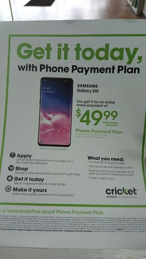 Phone payment plan for Samsung Galaxy 10. for Sale in St. Louis, MO