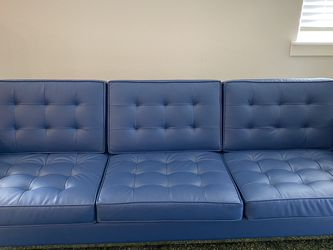 "91"" Blue Faux Leather Recessed Arm Sofa for Sale in Hillsboro,  OR"