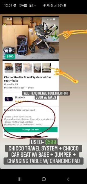 Chicco stroller travel system for Sale in Oceanside, CA