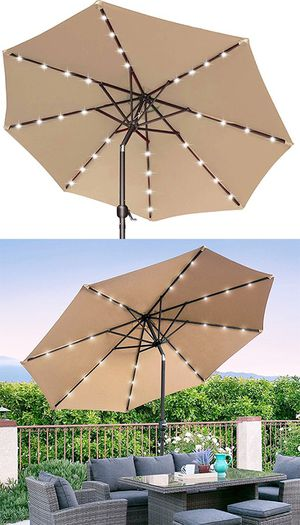 (NEW) $65 each 10' FT Outdoor Patio Umbrella with Solar Powered LED Light Tilt Crank for Sale in South El Monte, CA