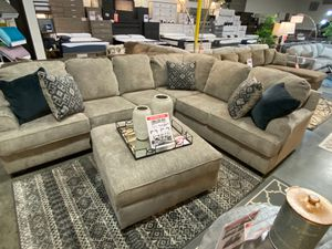 Stone Color Sectional Sofa with Ottoman for Sale in Downey, CA