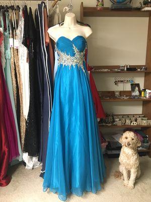 NWT Rhinestone Teal Blue Dress Evening Gown for Sale in Fairfax, VA