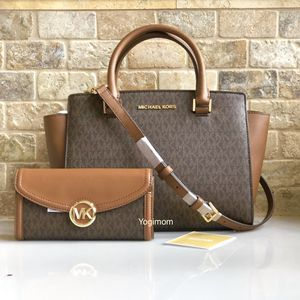 BUNDLE OF AUTHENTIC 2 pc MICHAEL KORS SIGNATURE LOGO PRINT PVC LEATHER BROWN ACORN SATCHEL CROSSBODY MESSENGER PURSE HAND BAG WITH LARGE MATCHING WAL for Sale in Northville, MI