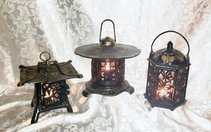3 Vintage Japanese Lantern Lamps Cast Iron Hanging Garden Candle Holders 3 Pagoda Styles Refurbished & Restored Glossy Black w/Gold Highlights for Sale in Pompano Beach, FL