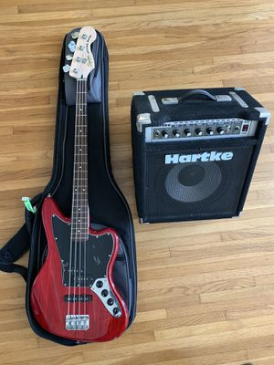 Squire vintage modified jazz bass + hartke A35 amp with gig bag for Sale in Torrance, CA