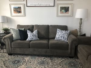 Gray couch with matching loveseat for Sale in Tampa, FL