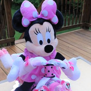Cute Minnie Mouse Motorcycle Diaper Cake – Girls Pink and White for Sale in Fort Washington, MD