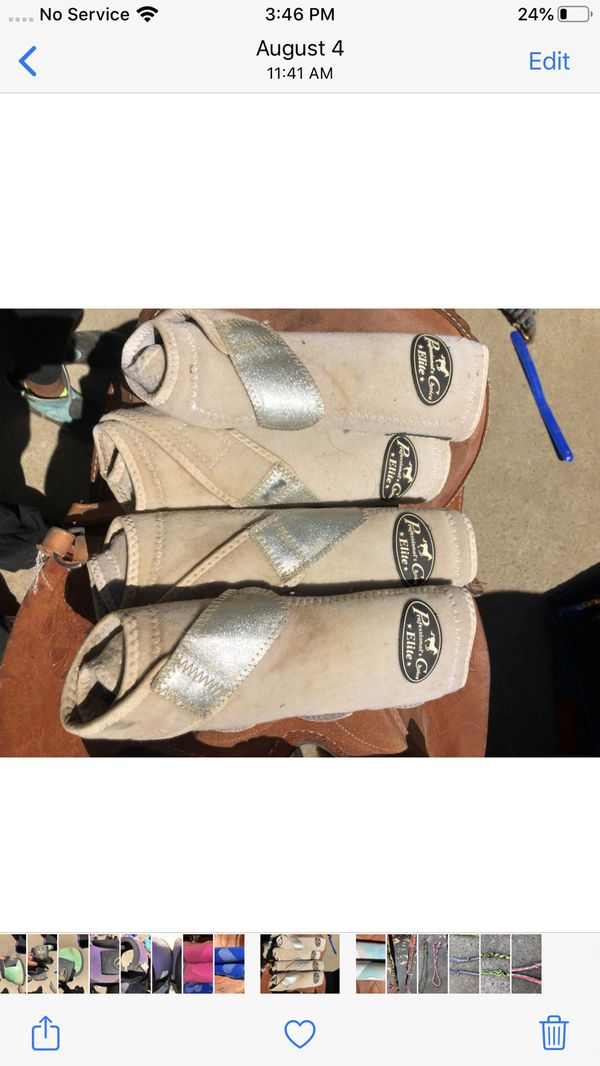 Professional Choice splint boots White with sparkle silver strap