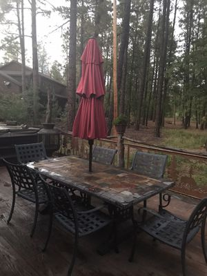 Stone top patio table and matching fire pit table! —heavy for Sale in Pinetop, AZ