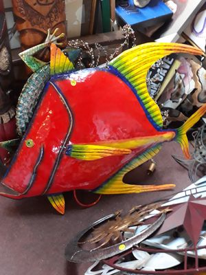 Large colorful metal fish wall art for Sale in Dunedin, FL