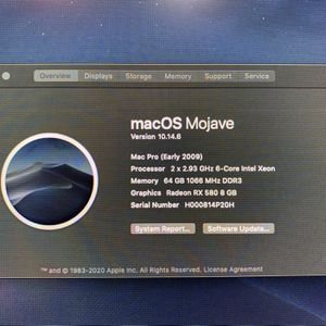 Apple Mac Pro 5,1 - Dual CPU 2.93ghz 12 Core, 64GB RAM, PCIe SSD, Mojave for Sale in South Pasadena, CA