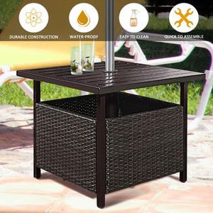 Brown Rattan Wicker Steel Side Table Outdoor Furniture Deck Garden Patio Pool for Sale in South El Monte, CA