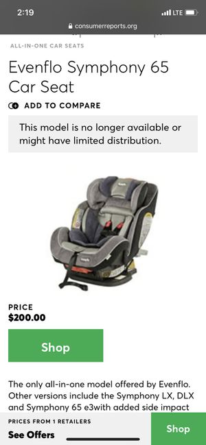 Evenflo Symphony 65 car seat for Sale in Fort Lauderdale, FL