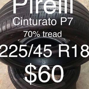 2 Pirelli tires 225/45 R18 for Sale in Union City, CA